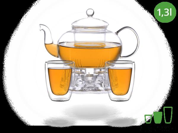 Teeservice Melina: Glaskanne 1,3 Liter + 2 Glasbecher 200ml + Glas-Stövchen