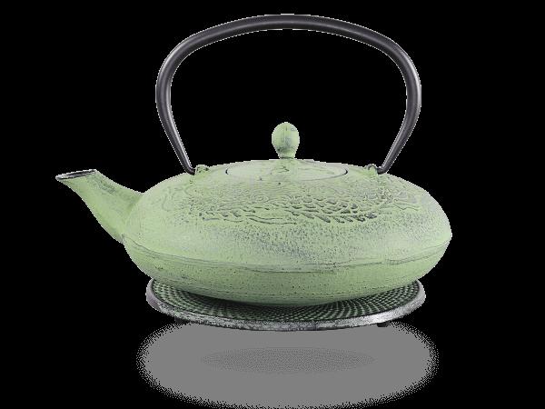 Teekanne Gusseisen Katsu hellgrün Drache mit Sieb