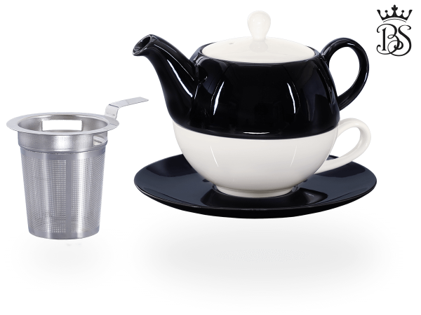 Tea for one, Lena 500 ml, Crystal Bone China, schwarz, Sieb