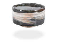 Matcha Schale handgefertigt dunkelgrau-weiß 450ml, original Japan