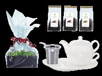Tee Geschenk Tea for One Lena weiß mit Sieb und Komfortteller mit Schwarztee