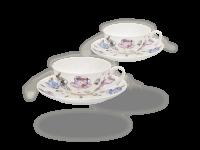 Buchensee Teetassen Set Tassendeko, Fine Bone China Porzellan 2 Sets