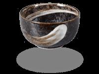 Matcha Schale handbemalt schwarz-grau 450ml, original Japan