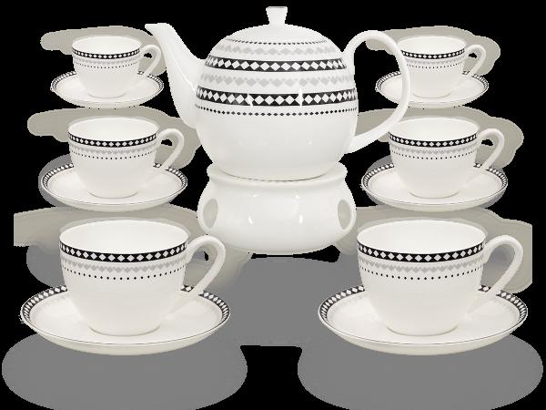 Buchensee Fine Bone China Kaffeeservice: Kaffeekanne 1,5 Liter + 6 Kaffeetassen + 6 Unterteller + Stövchen
