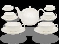 Buchensee Teeservice Porzellan weiß, Fine Bone China