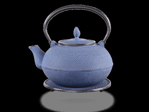 Teekanne Gusseisen Arare japanblau mit Sieb
