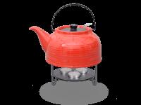 Nelly Teekanne mit Stövchen Keramik 1,5l rot schwarz