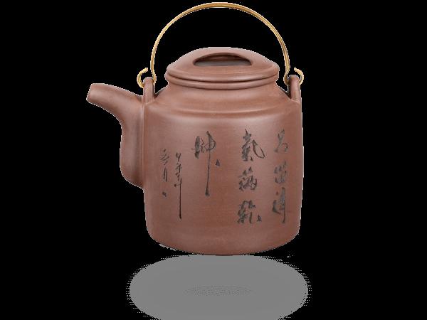 Teekanne Ton 1,3l, hoch, Kupferhenkel