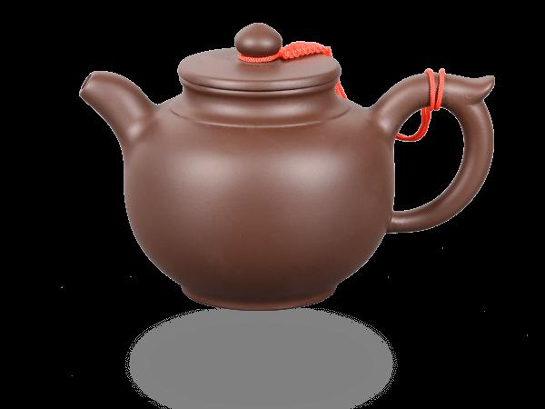 Chinesische Teekanne Ton hoch 300ml glatt dunkel