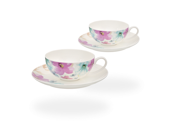 Buchensee Teetassen Set Blumendeko, Fine Bone China Porzellan