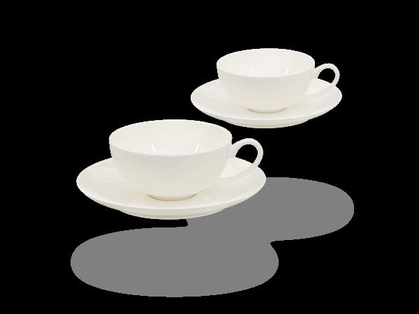 Buchensee Teetassen Set weiß, Fine Bone China Porzellan