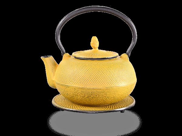 Teekanne Gusseisen Arare sandgelb mit Sieb