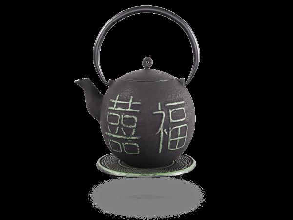 Teekanne Gusseisen Kimiko 0,8l schwarz-hellgrün mit Sieb