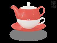 Tea for one, Lena 500 ml, Crystal Bone China, coralrot