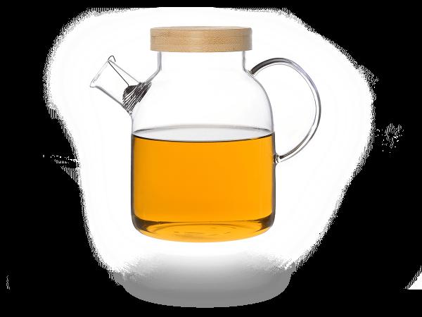 Kira Teekanne Glas mit Tüllensieb und Bambusdeckel