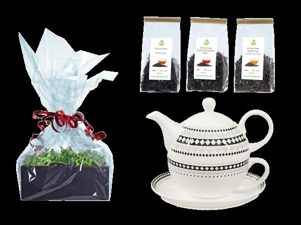 Tee Geschenk Buchensee Tea for One, Fine Bone China, Rautendeko