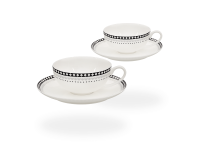 Buchensee Teetassen Set Rautendeko, Fine Bone China Porzellan 2 Sets