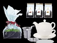 Tee Geschenk Tea for One Lena weiß mit Sieb und Rundteller mit Schwarztee