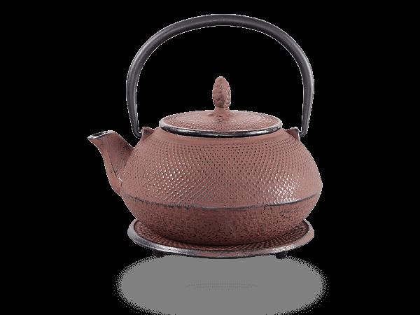 Teekanne Gusseisen Arare 0,8L antikrot mit Sieb