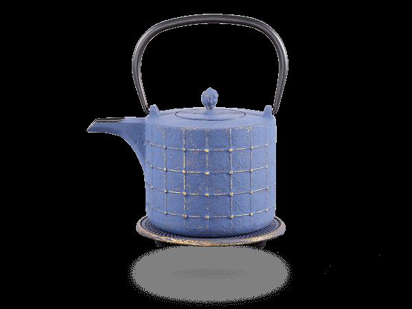 Teekanne Gusseisen Takeo 0,8L japanblau-gold mit Sieb