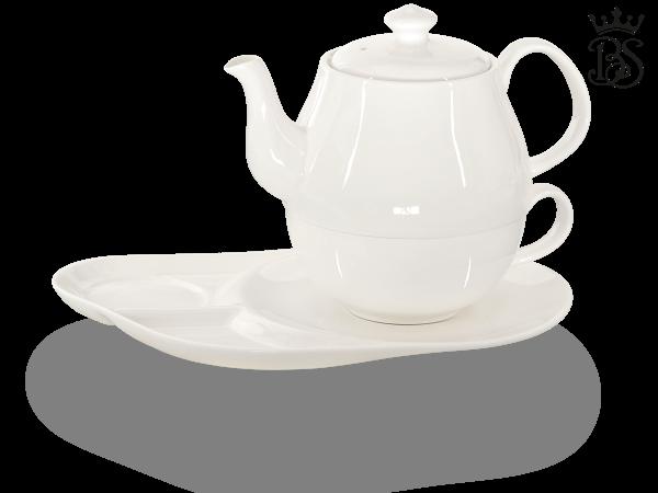 Tea for one, Daisy 600 ml, Crystal Bone China, weiß, Ablageteller