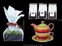 Tee Geschenk Tea for One, handbemalt, rotgrün