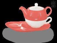 Tea for one, Lena 500 ml, Crystal Bone China, coralrot, Ablageteller