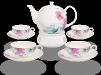 Buchensee Teeservice Porzellan mit Stövchen Blumendeko, Fine Bone China