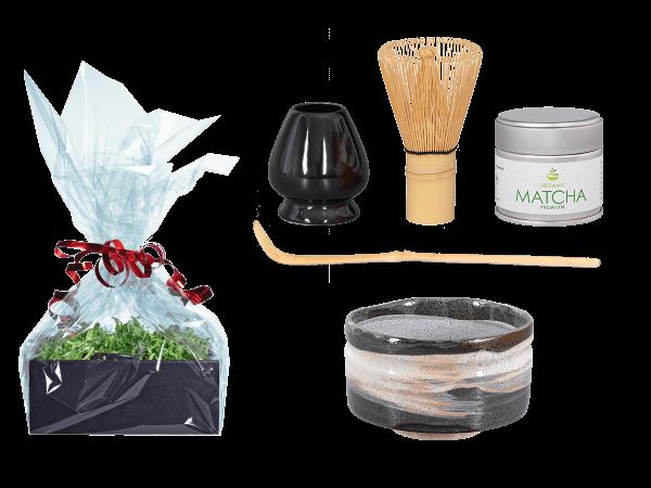 Tee Geschenk Matchaset, original Japan, dunkelgrau/weiß