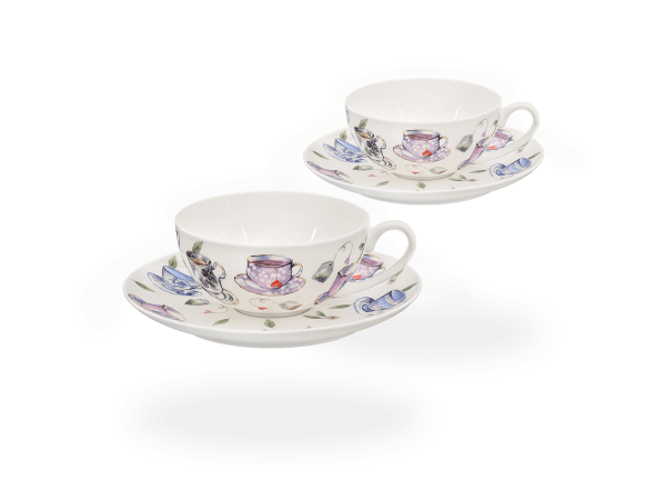Buchensee Teetassen Set Tassendeko, Fine Bone China Porzellan