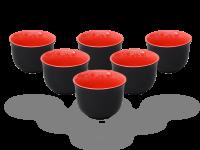 Teecups Nelly 120ml. Teebecher-Set Keramik rot-schwarz 6 Stück