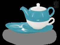 Tea for one, Lena 500 ml, Crystal Bone China, türkis, Ablageteller