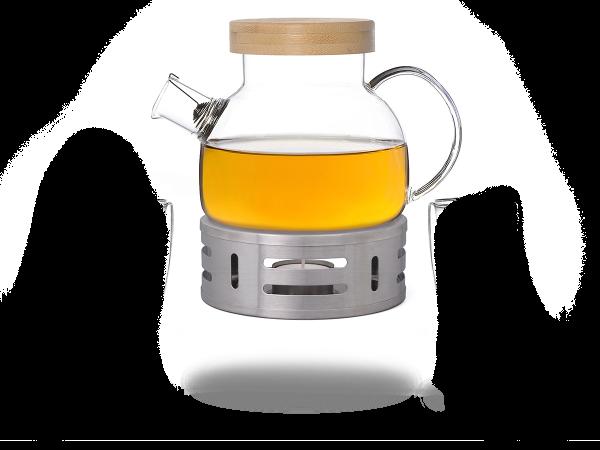 Kira Teekanne Glas mit Stövchen aus Edelstahl 900ml