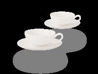 Buchensee Teetassen Set Lena weiß, Crystal Bone China Porzellan