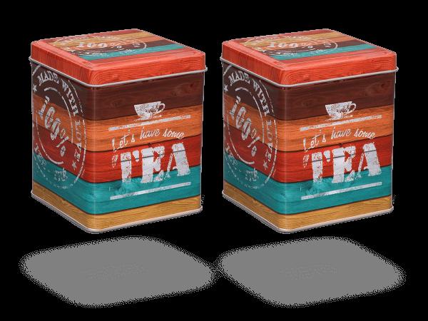 """Teedosen """"Vintage Tea"""" eckig aus Metall für losen Tee, 2 Stk"""