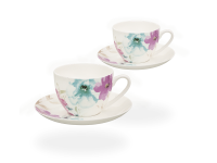 Buchensee Kaffeetassen Blumendeko, Fine Bone China Porzellan 2 Sets