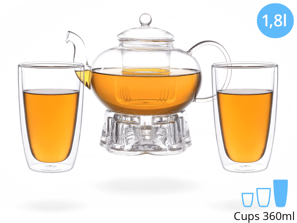 Teeservice Melina: Glaskanne 1,8 Liter + 2 Glasbecher 380ml + Glas-Stövchen