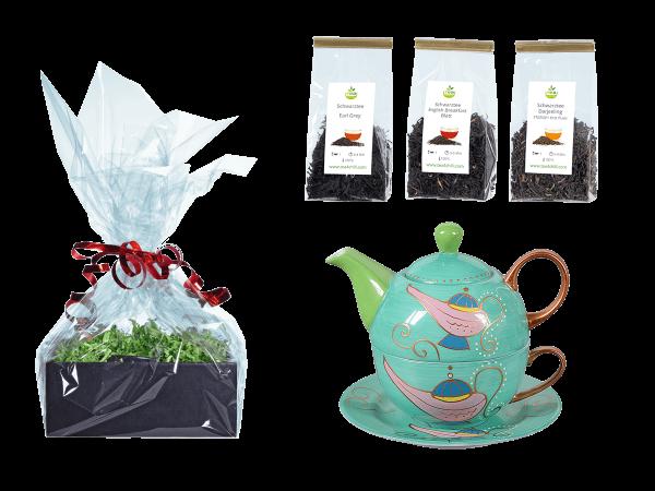Tee Geschenk Tea for One, handbemalt, hellgrün