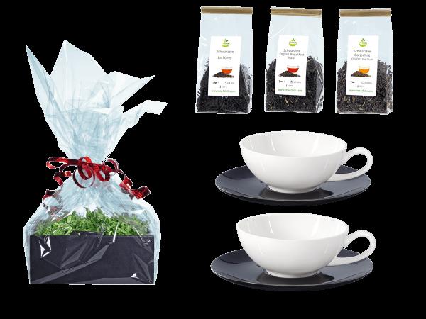 Tee Geschenk Teetassen Lena schwarz/weiß