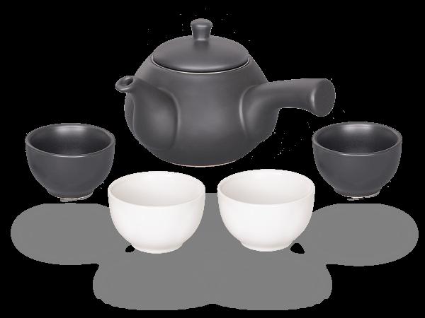 Teeservice japanische Teekanne 0,6l, 2 Cups mattschwarz, 2 Cups mattweiß