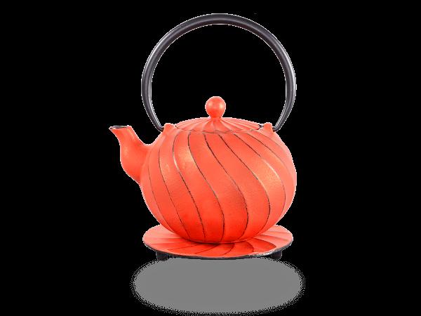 Teekanne Gusseisen Bara 1,0l karminrot mit Sieb