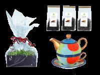 Tee Geschenk Tea for One, handbemalt, hellblau
