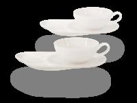 Buchensee Teetassen Set Lena weiß, Crystal Bone China Porzellan, Komfortteller