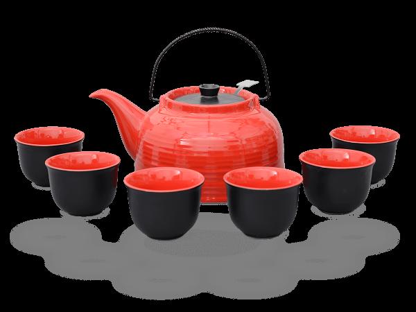 Nelly Teeservice Keramik 1,5l rot schwarz