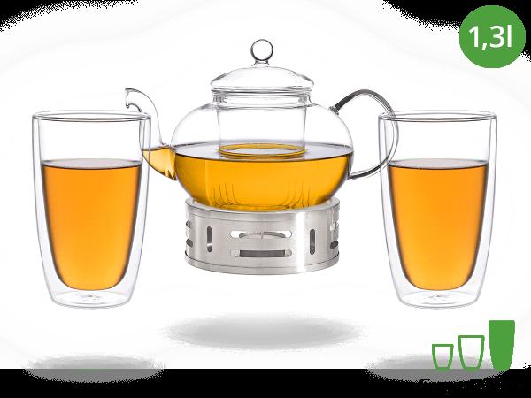 Teeservice Melina: Glaskanne 1,3 Liter + 2 Glasbecher 380ml + Edelstahl-Stövchen
