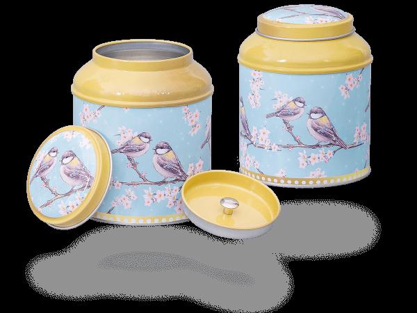 """Teedosen """"Oriental Garden"""" rund aus Metall für losen Tee 150g, 2 Stk"""