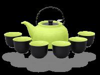 Nelly Teeservice Keramik 1,5l grün schwarz