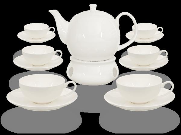 Buchensee Teeservice Porzellan mit Stövchen weiß, Fine Bone China