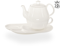 Tea for one, Daisy 600 ml, Crystal Bone China, weiß, Komfortteller