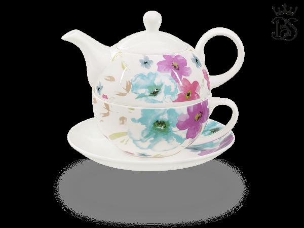 Tea for one, 400 ml, Fine Bone China, Blumendekor